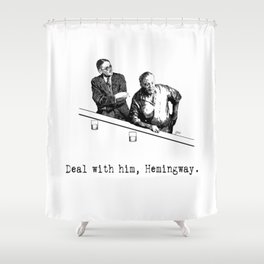 James Joyce x Ernest Hemingway - Drunken Shenanigans Painting Shower Curtain