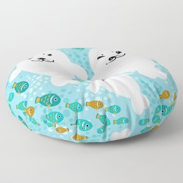 happy family of white seals and fish on a blue background. Floor Pillow