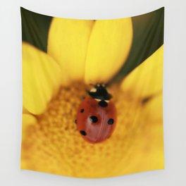 Ladybug on yellow flower - macro still life - fine art photo for interior design Wall Tapestry