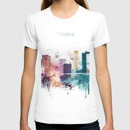 Osaka skyline watercolour T-shirt