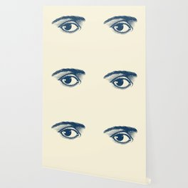 I see you. Navy Blue on Cream Wallpaper