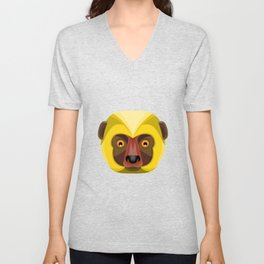 Diademed Sifaka Lemur Head Flat Icon Unisex V-Neck