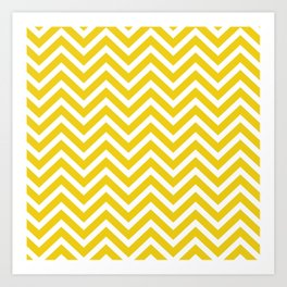 Chevron Pattern - Yellow and White Art Print