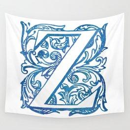 Letter Z Elegant Vintage Floral Letterpress Monogram Wall Tapestry