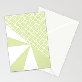 Geometric green white quatrefoil color block pattern Stationery Cards