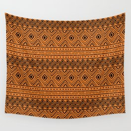 African Mud Cloth // Orange Wall Tapestry
