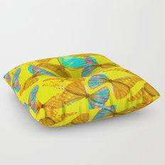 Butterflies - turquoise wings - yellow background #Society6 #buyart Floor Pillow