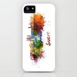 Sucre skyline in watercolor iPhone Case