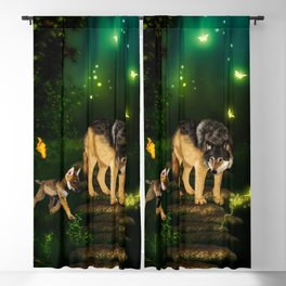 Awesome wolf with pup in the forest Blackout Curtain
