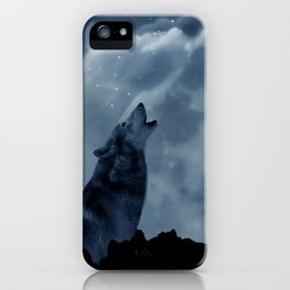 Wolf howling at full moon iPhone Case