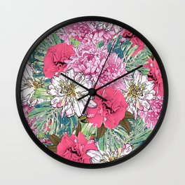 Cute Girly Pink & Green Floral Illustration Wall Clock