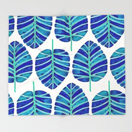 Elephant Ear Alocasia – Blue & Turquoise Palette Throw Blanket