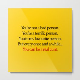 Kill Bill - My Favourite Person | Movie Quote Metal Print