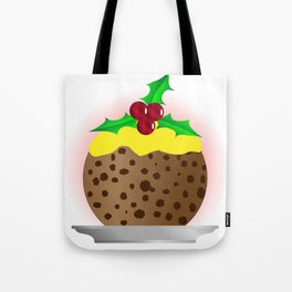 Christmas Pudding With Custard And Holly Sprig Tote Bag