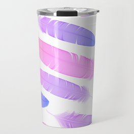 Colorful seamless feather vector pattern Travel Mug