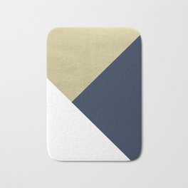 Gold meets Navy Blue & White Geometric #1 #minimal #decor #art #society6 Bath Mat