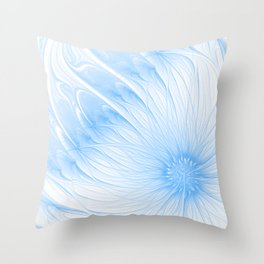Blue White Flower | Abstract digital painting, cute floral pattern, pretty pastel flowers Throw Pillow