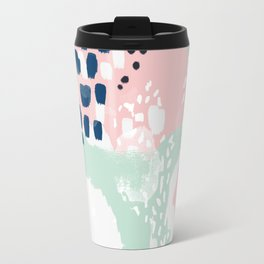 Ostara - minimal abstract painting trendy navy mint and pink pastels acrylic large minimalist Travel Mug