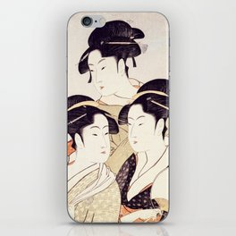 Three Beauties of the Present Day - Japanese Woodblock Print iPhone Skin