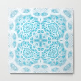 Blue Square Mandala Metal Print