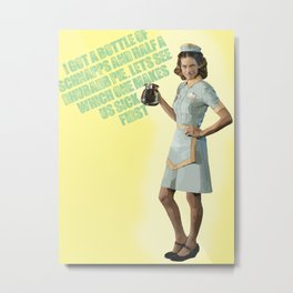 BOTTLE OF SCHNAPPS -- Angie Metal Print