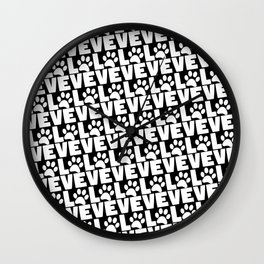 Dog Love - White Dogs Paw on Black Wall Clock