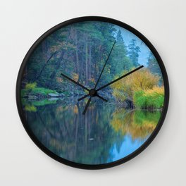 Autumn Dawn at Merced River Wall Clock
