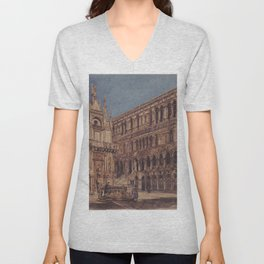 The Courtyard Of The Doge S Palace In Venice 1867 by Rudolf von Alt | Reproduction Unisex V-Neck