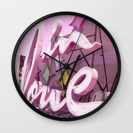 "Pink ""In Love"" Sign at the Neon Museum in Las Vegas, Nevada Wall Clock"
