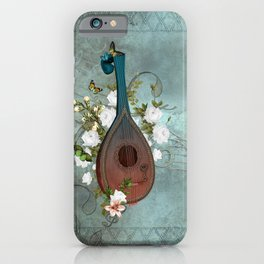 Music, lute with celtic knot iPhone Case
