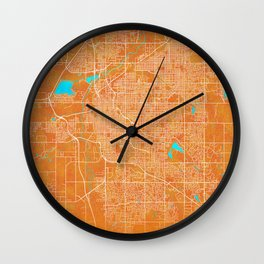 Lincoln, NE, USA, Gold, Blue, City, Map Wall Clock