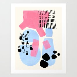 Fun Colorful Abstract Mid Century Minimalist Pink Periwinkle Cow Udder Milk Organic Shapes Art Print