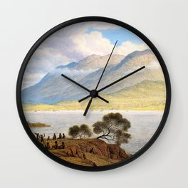 Mount Wellington And Hobart Town From Kangaroo Point - John Glover Wall Clock