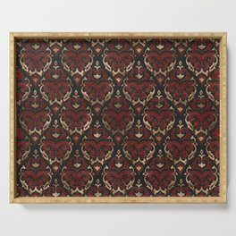 Persian Oriental Pattern - Black and Red Leather Serving Tray