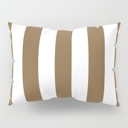 Coyote brown - solid color - white vertical lines pattern Pillow Sham