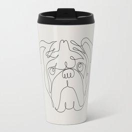 One Line English Bulldog Travel Mug