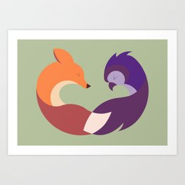 The Fox and the Owl Art Print
