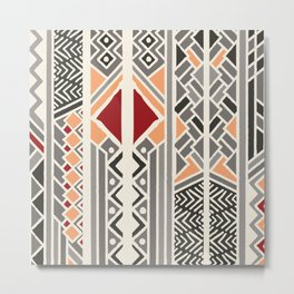 Tribal ethnic geometric pattern 034 Metal Print