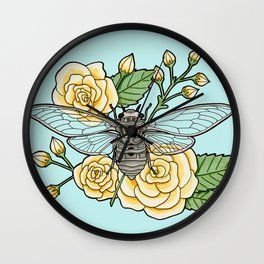Cicada with Roses - Blue Wall Clock