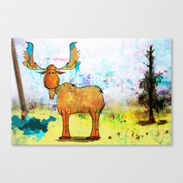 Blue Moose on the Loose ~Ginkelmier Canvas Print