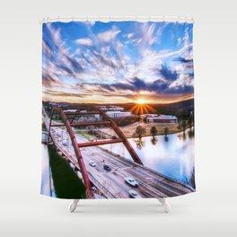 Famous Pennybacker 360 Bridge At Romantic Evening Red Austin Texas USA Ultra HD Shower Curtain