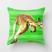 kangaroo Throw Pillows featuring Kangaroo by wingnang