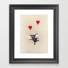 Zombie Kitty Plays Cupid Framed Art Print