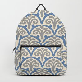 Floral Scallop Pattern Gray and Blue Backpack