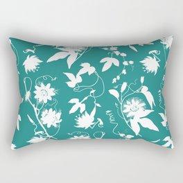 Passion Garden. Elegant Teal White Floral Pattern Rectangular Pillow