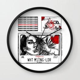 White Mustang Wall Clock