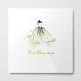 Green Dress Ballerina Metal Print