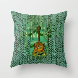 guitar in the most beautiful landscape of fantasy and sakura Throw Pillow