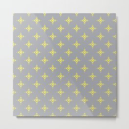 Ornamental Pattern with Grey and Lemon Yellow Colourway Metal Print