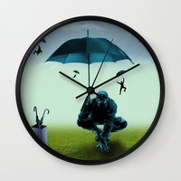 the winter soldier Wall Clocks featuring Winter Soldier by Tony Vazquez